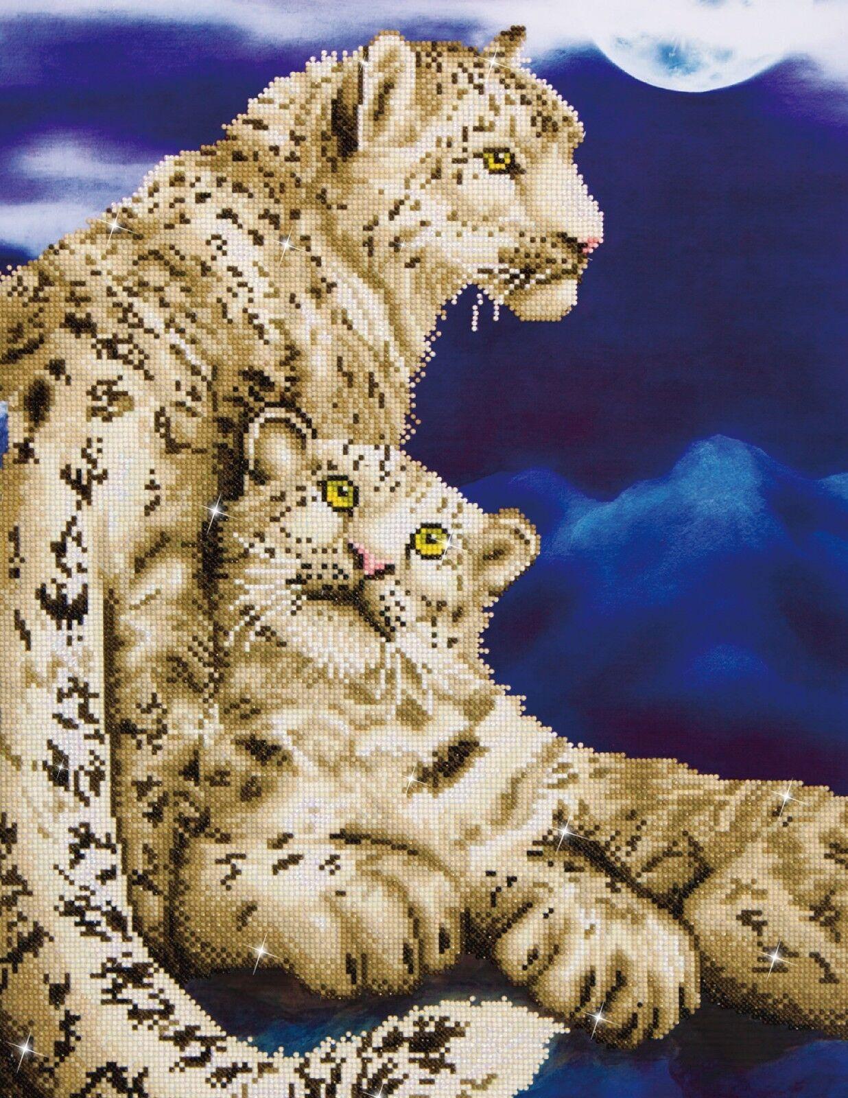 Diamond Dotz®  Schnee Leoparden  52x77cm - DD12-004 - Diamond Painting - NEU