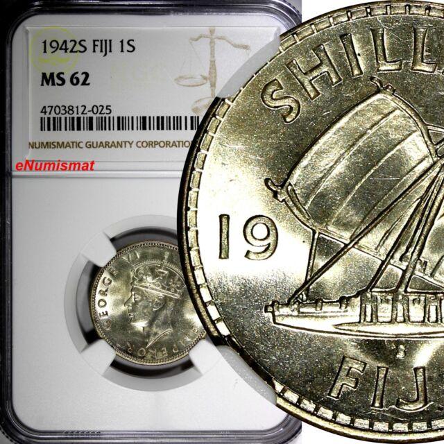 Fiji George VI Silver 1942 S 1 Shilling San Francisco NGC MS62 KM# 12a