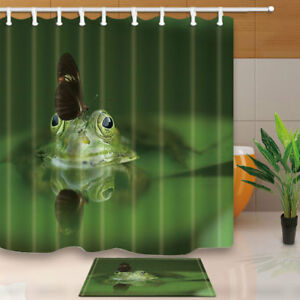 Image Is Loading 3D Butterfly Frog Shower Curtain Bathroom Waterproof Fabric