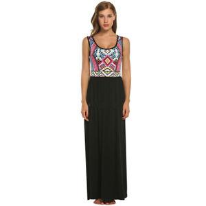 f3f46bf1eee Women s Summer Beach Print Sleeveless Tank Top Long Maxi Dress EH7E ...
