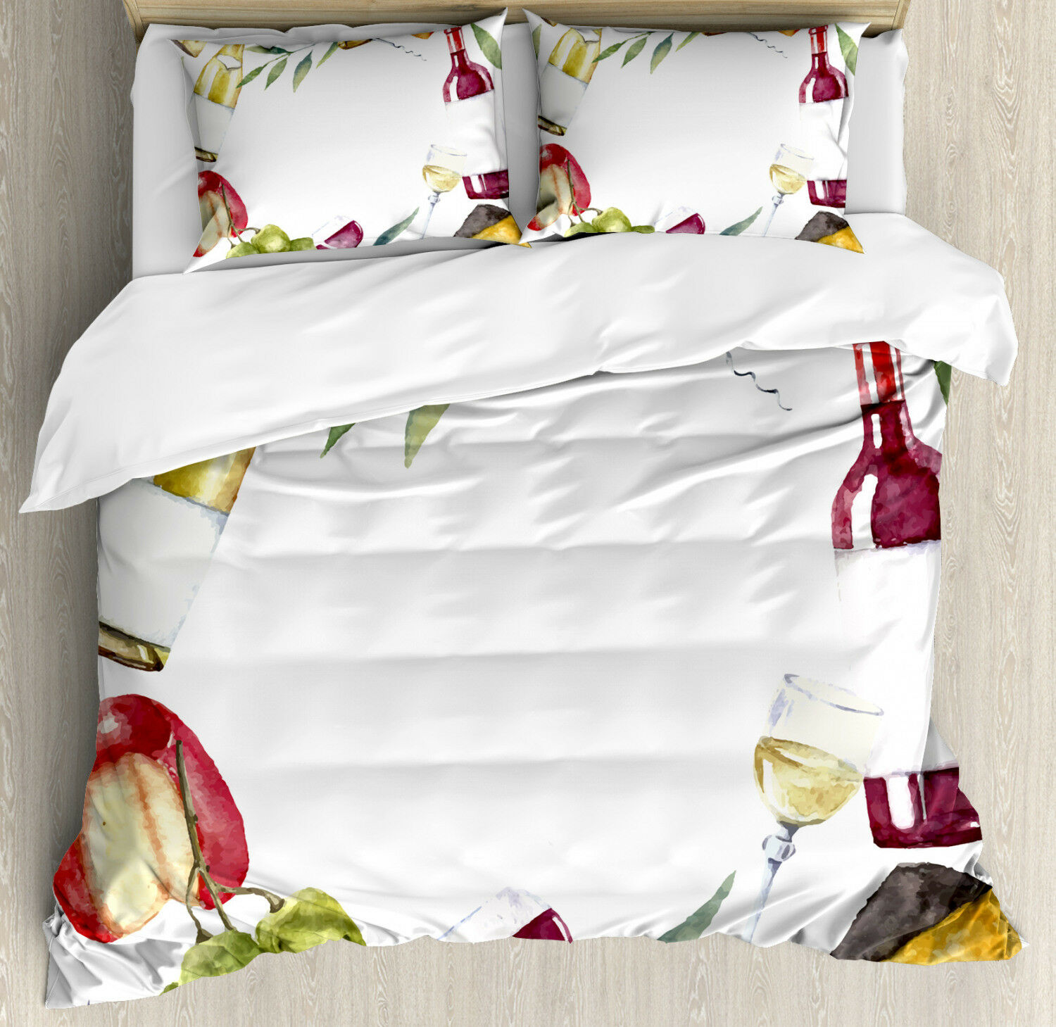 Wine Duvet Cover Set with Pillow Shams Watercolor Food Wine Frame Print