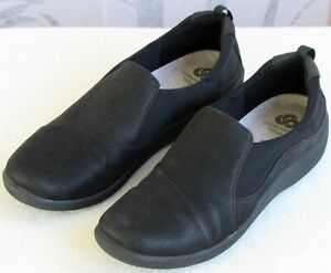 9-Clarks-Cloudsteppers-Sillian-Paz-Black-Slip-On-Flat-Loafer-Comfort-Moc-Shoe
