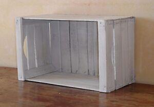 Cassetta frutta in legno bianco decapato,librerie,fioriere,comodini ...