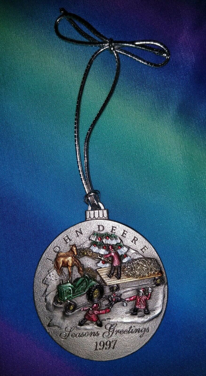 John Deere 1997 Season's Greetings Pewter Ornament  vintage pre owned