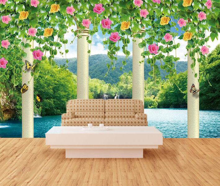 3D Pillar Flowers 753 Wall Paper Murals Wall Print Wall Wallpaper Mural AU Kyra