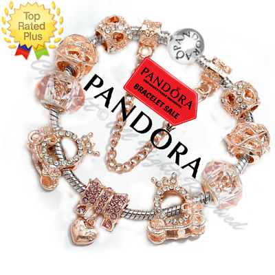 Authentic Pandora Charm Bracelet Silver Rose Gold Pink With European Charms New Ebay