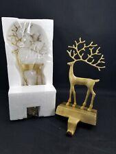 Pottery Barn Merry Reindeer stocking Holder LARGE deer Christmas gold BRASS