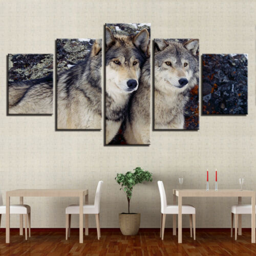 5 Panel Home Wall Art Animal Picture Paint Printed on Canvas Wolf