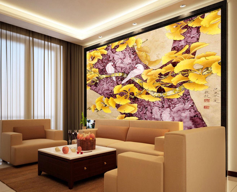 3D Ginkgo leaves Bird1F WallPaper Murals Wall Print Decal Wall Deco AJ WALLPAPER