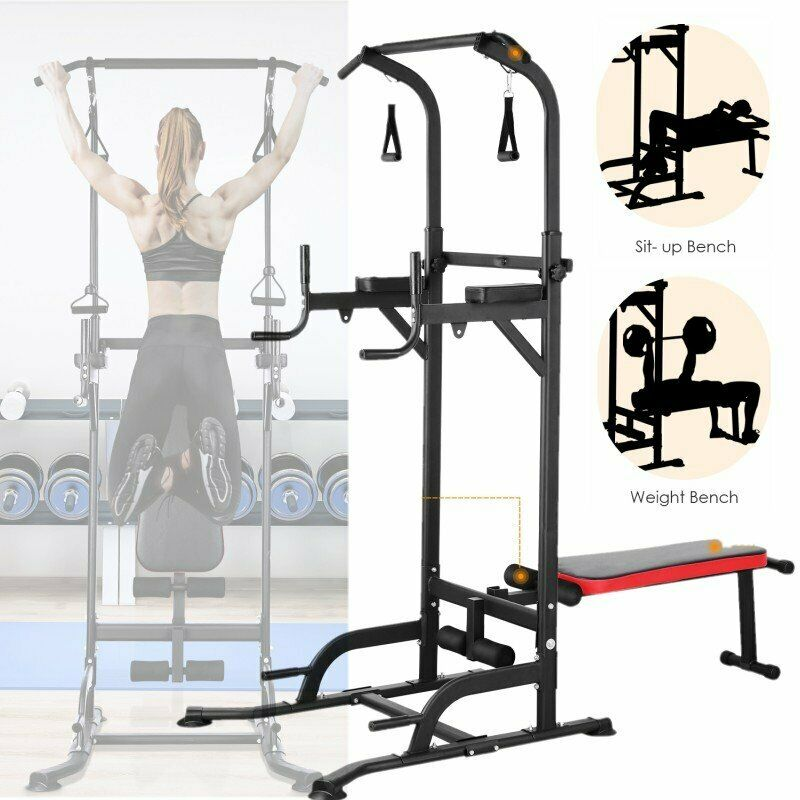 Dip Station Chin Up Bar Core Power Tower Pull Push Home Gym Fitness Equipment US