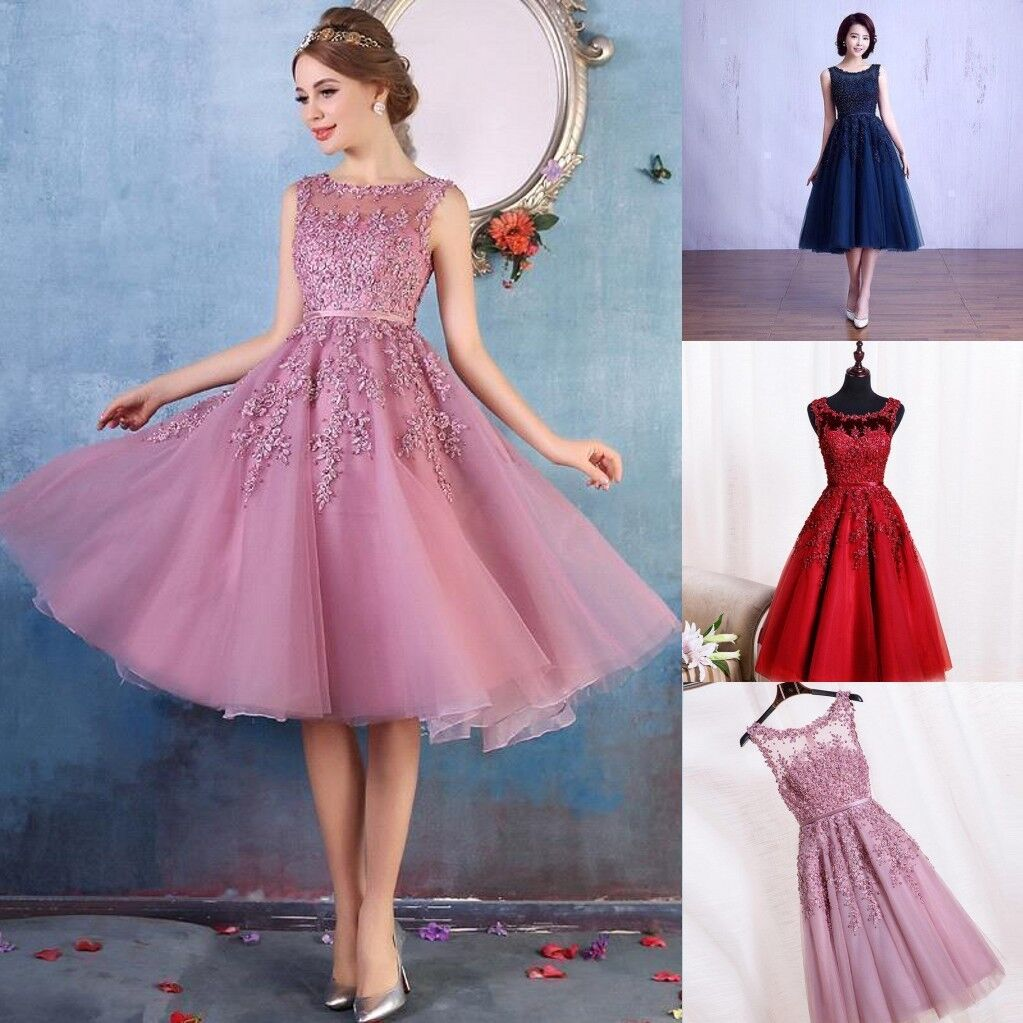 8b650bf3efd Short Evening Formal Party Dress Prom Ball Gown Homecoming Bridesmaid  Applique