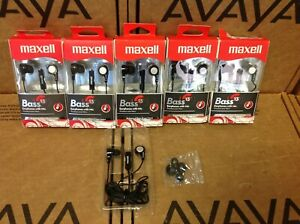 Lot-5-Maxell-B-13-Bass-Earbuds-w-Microphone-Black-52-Cord-199621-Music-Headphone