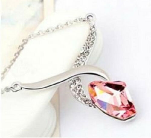 18k White Gold Plated Gorgeous Purple Angel Swan Pendant fashion Necklace