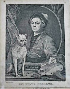 19th-Century-Engraving-by-T-Cook-after-William-Hogarth-039-s-Self-Portrait-with-Pug