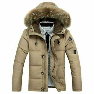 Mens Warm Duck Down Jacket Fur Collar Thick Winter Hooded Coat Outwear Parka