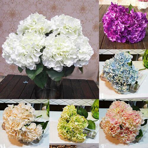 5 Heads Wedding Artificial Hydrangea Silk Flower Cocktail Party Bouquet USA