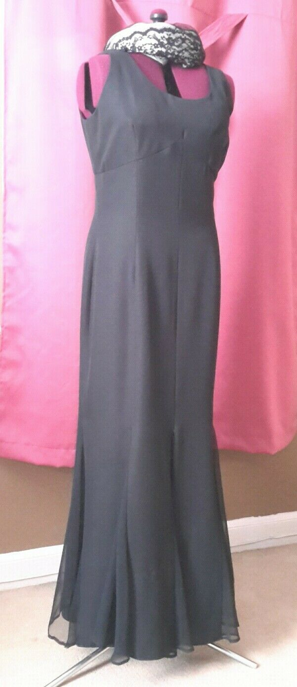 ABS Evening Collection Women's Lined Black Gown Size 14 Sleeveless Sheer Panels