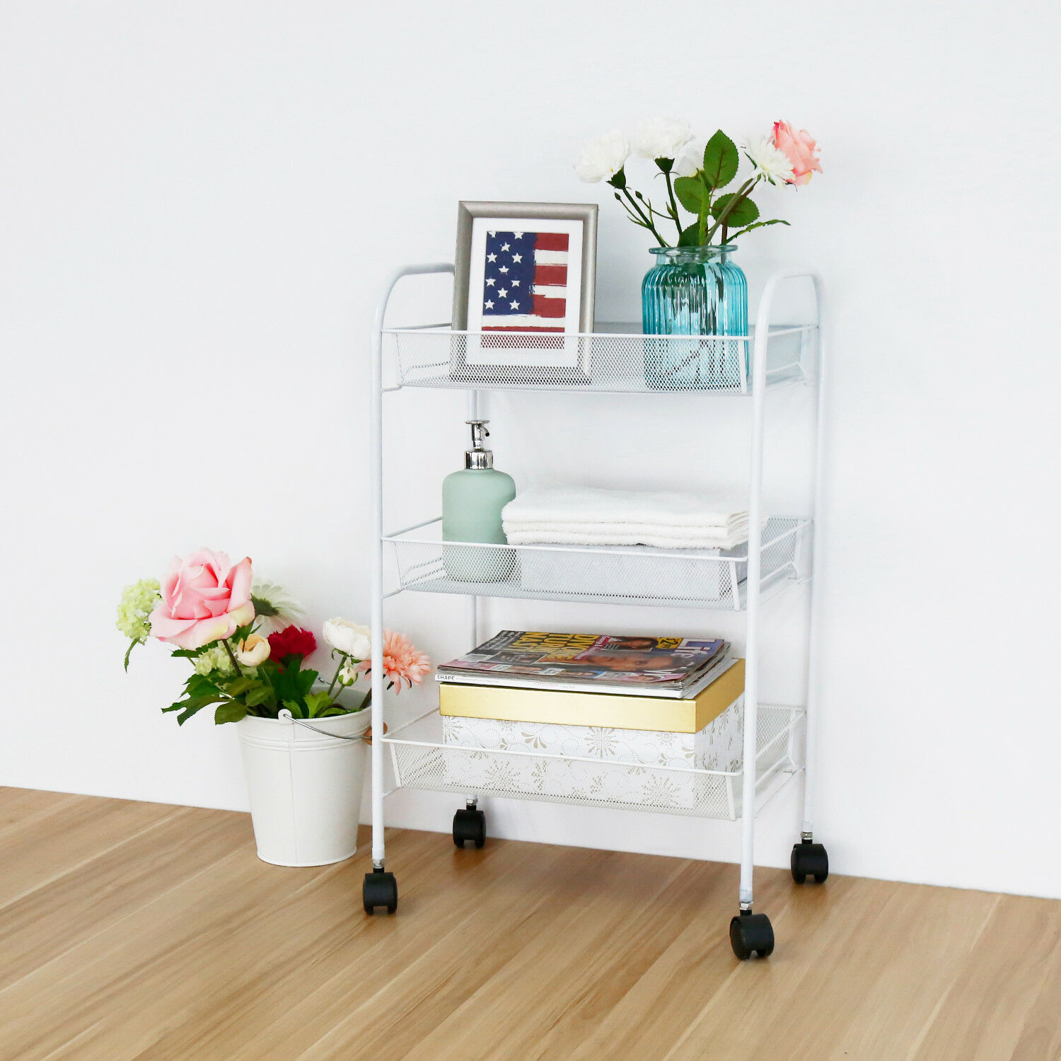 Kinbor 3 Piece Rolling Kitchen Island Portable Storage Trolley Cart Dining Table