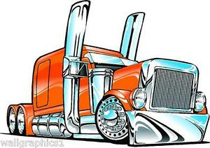 Peterbilt Big Rig Semi Truck Cartoon 3 Sizes Decal Wall ...