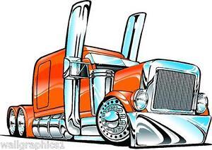 Peterbilt Big Rig Semi Truck Cartoon 3 Sizes Decal Wall Graphic Man Cave Decor Ebay