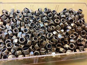 Lot-de-10-Ecrous-freins-6-pans-acier-INOX-M5-neufs