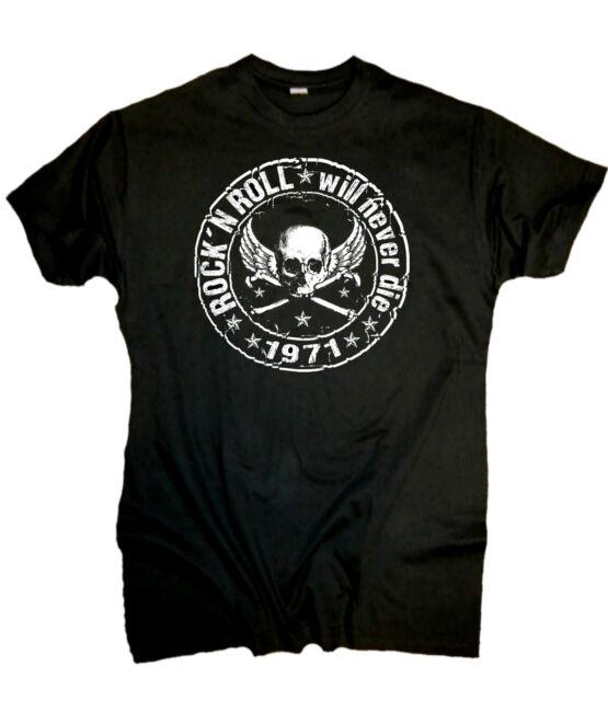 Rock n Roll T-Shirt Hot Rod Shirt Old skool Biker Rocker Punk Rockabilly schwarz