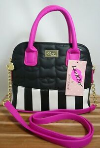 dfb999db98cd Details about Luv Betsey Johnson Hot Pink/Blk Quilted Cats Dome Satchel  Crossbody #LBDARCY NWT