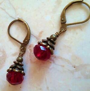 Red Bronze Drop Earrings