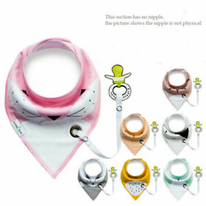 Baby Infant Toddler Cotton Triangle Bibs Saliva Towel with Pacifier Clip New