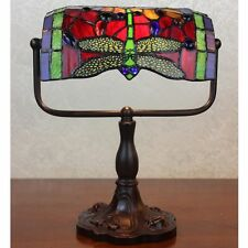 Red & Green Dragonfly Art Deco Tiffany Style Stained Glass Table Desk Lamp