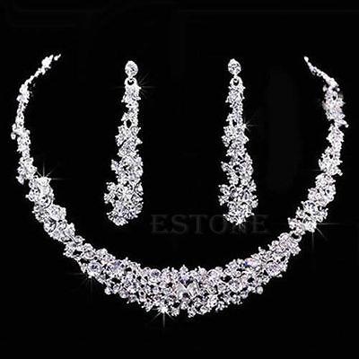 Popular Wedding Bridal Charm Rhinestone Crystal Necklace Earrings Jewelry Sets