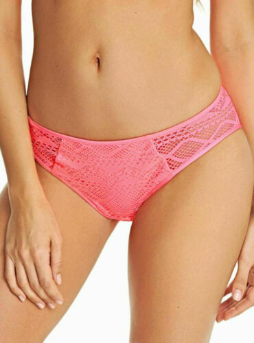 M Freya Sundance Bikini Brief Low Rise Hipster 3976 Lined Bottoms 12 Flamingo