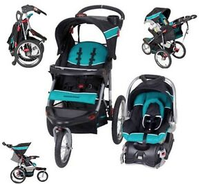 Aqua Blue Jogging Stroller Carseat Combo Baby Trend Run ...