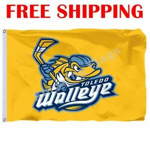 Toledo-Walleye-Logo-Flag-ECHL-Hockey-League-2018-Banner-3X5-ft