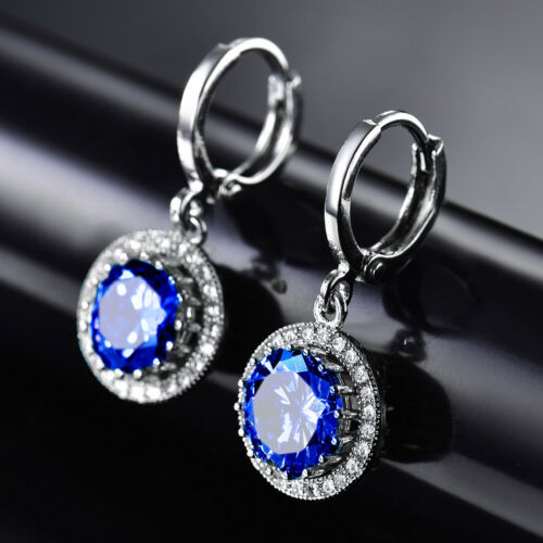 Dangle Round Colorful Crystal gemstone silver gold filled Women Boucles D/'oreilles Pendantes