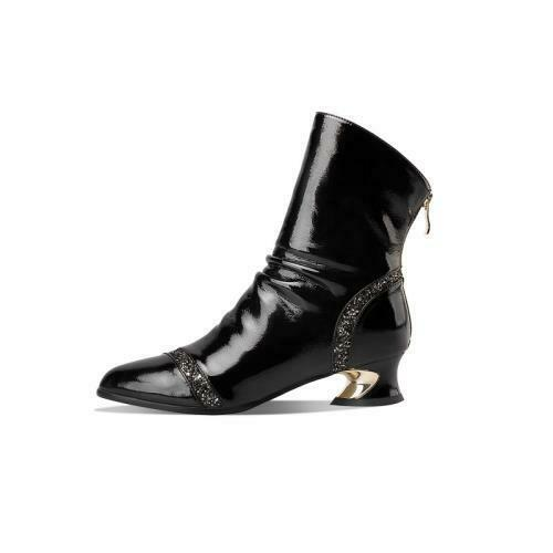 Details about  /Trendy Women Sequins Patent Leather Block Low Heel Round Toe Zip Ankle Boots L