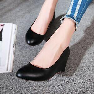 Women-Solid-Wedge-Heels-Platform-Shoes-Slip-on-Boat-Work-Round-Toe-Office-Pumps