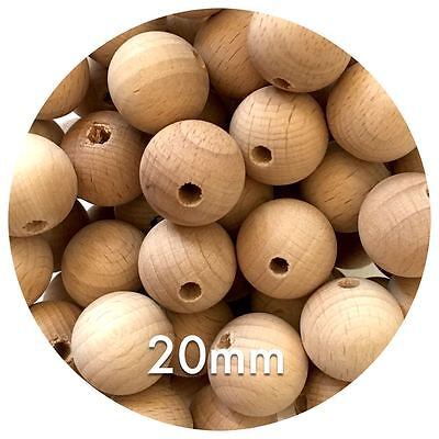 20x organic Beech Wood 20mm beads round raw unfinished teething jewellery DIY