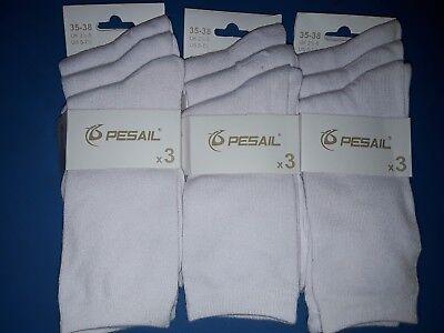 9 Paar Mädchen & Damen Socken 80 % Baumwolle Neu Weiß 35-38 Restposten Sale
