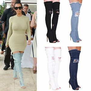 12d762dc898 LADIES WOMENS DENIM BOOTS OVER THE KNEE THIGH HIGH PEEP TOE RIPPED ...