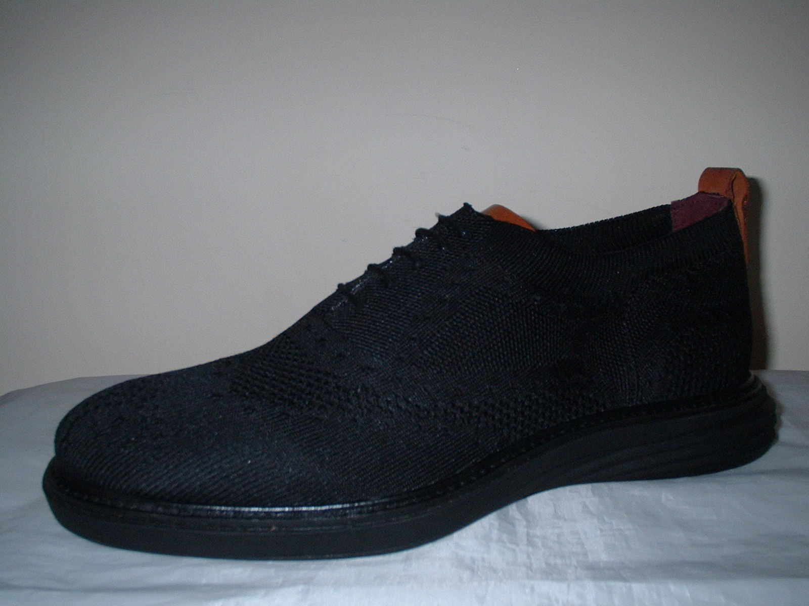LONDON BROGUES BLACK KNITTED TEXTILE LACE UP LIGHTWEIGHT BROGUE Schuhe SIZE 7/41