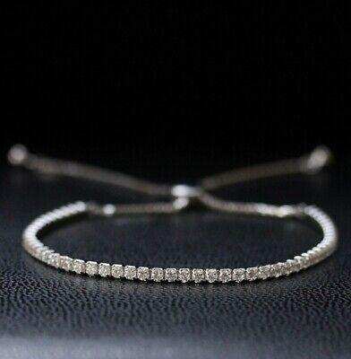 Damen Tennisarmband 925er echt Sterling Silber Armband Zirkonia 2.01ct Glitzer