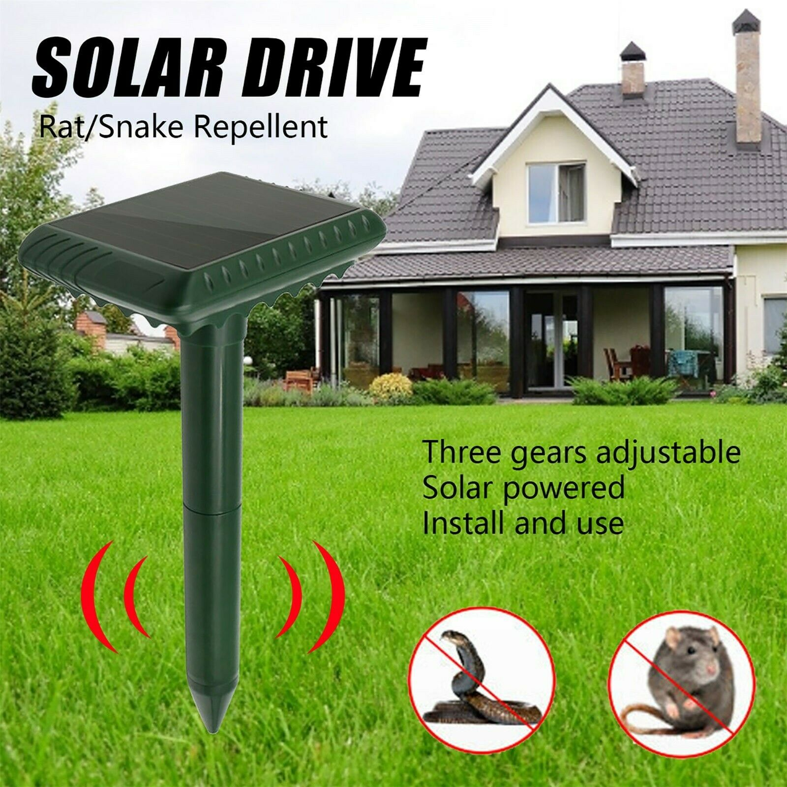 Solar Lights Power Sonic Mouse Mole Pest Rodent Repellent Waterproof Outdoor