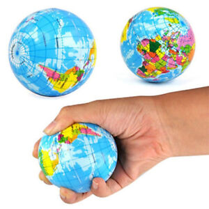 World-Map-Earth-Globe-Stress-Relief-Pressure-Decompression-Squeeze-Ball-Toy-34CA