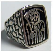 SKELETON GRIM REAPER SICKLE BIKER RING #105 HEAVY silver UNISEX gothic jewelry