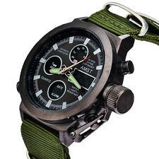 Imported AMST Chrono digital dual display Military Quartz Canvas strap Men Watch