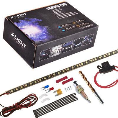 Custom fit Ultra Blue LED strip light under hood cowl for Hyundai Veloster