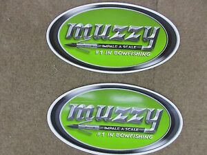 """Lot of 2 LARGE GREEN MUZZY IMPALE A SCALE BOWFISHING DECALS 10"""" X 5.5"""" FREE SHIP"""