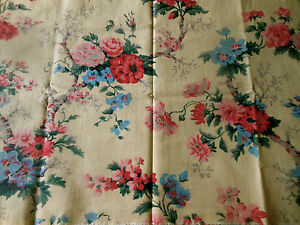 Antique-Vintage-French-Tree-of-Life-Floral-Cotton-Fabric-2-Pink-Blue-on-Yellow