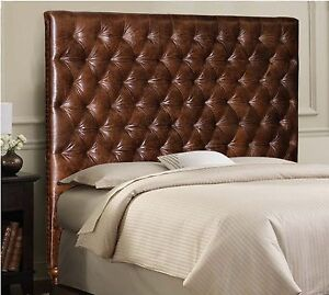 Details About Queen Size Chesterfield Headboard In Genuine Brown Leather With Deep Tufting